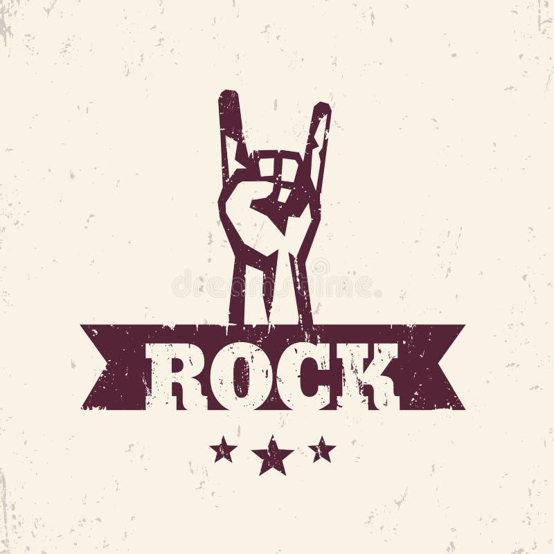 Segno della roccia, a mano Horn, gesto di concerto rock illustrazione vettoriale