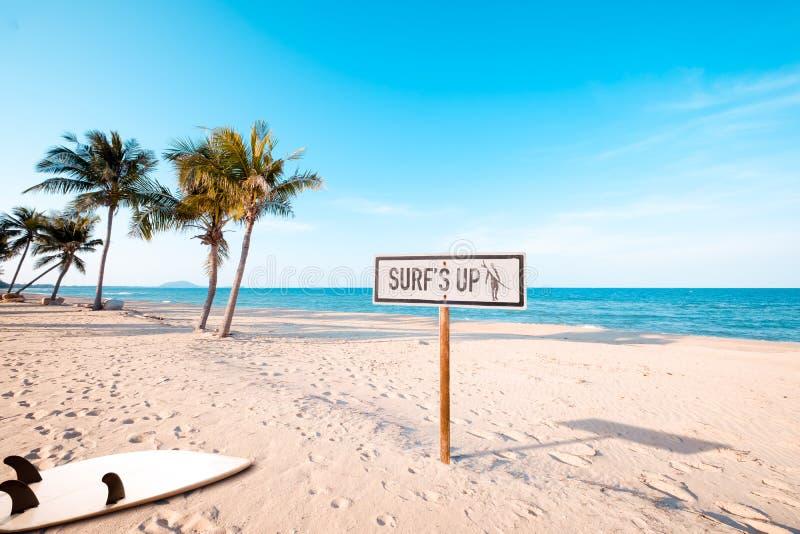 segno della spiaggia per area praticante il surfing fotografie stock libere da diritti