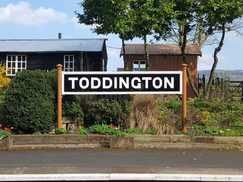 Segno della stazione di Toddington fotografia stock libera da diritti