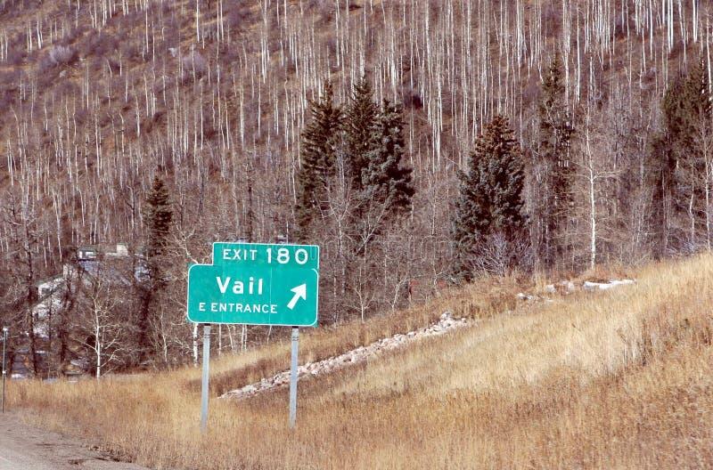 Segno della strada principale del Colorado - Vail fotografia stock libera da diritti