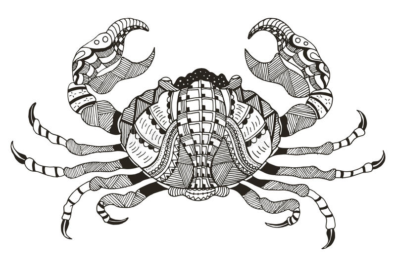 Segno dello zodiaco - Cancro Illustrazione di vettore Granchio Stili di Zentangle illustrazione di stock