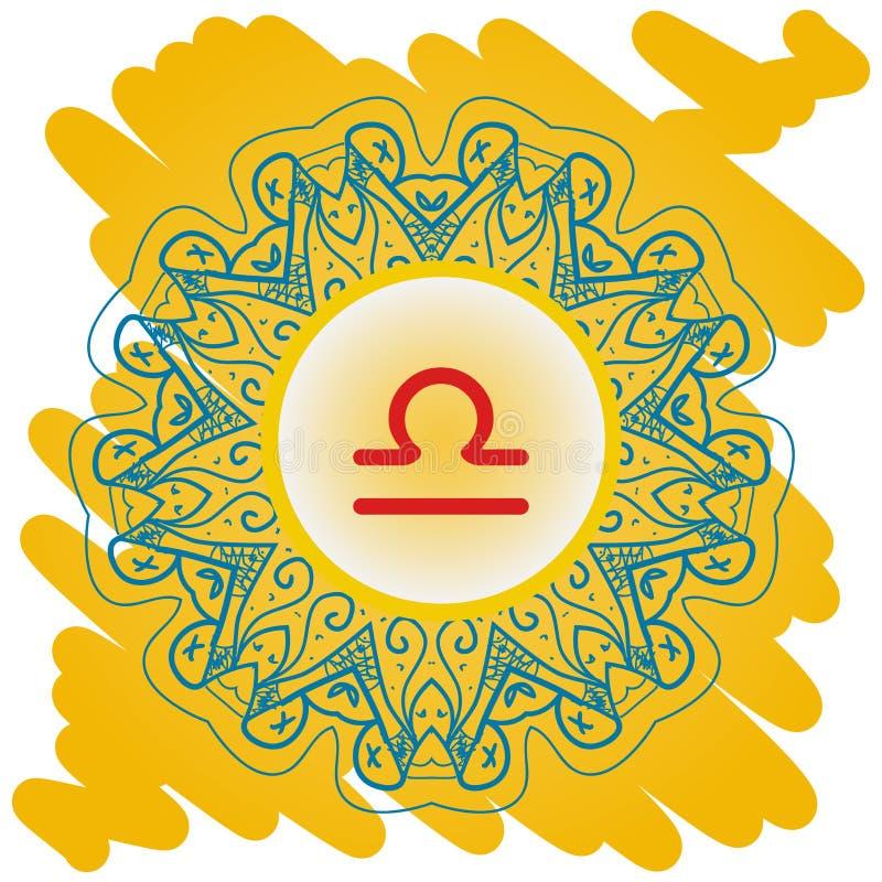 Segno dello zodiaco che cosa è cerchio di vettore di karmi con i segni dello zodiaco sulla carta da parati decorata Lase quadrato illustrazione di stock