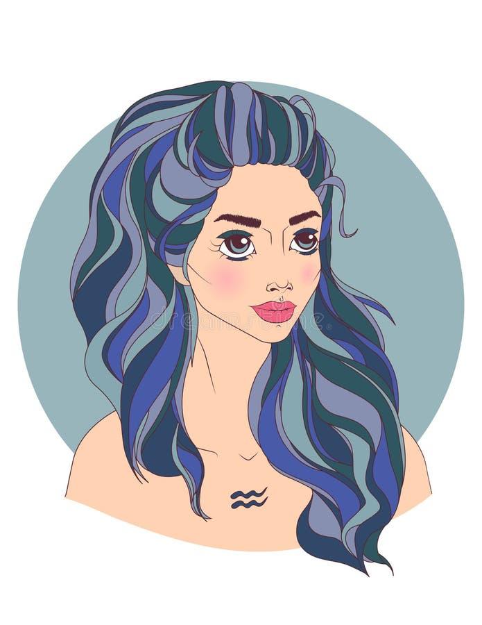 Segno dello zodiaco del Aquarius come bella ragazza illustrazione vettoriale