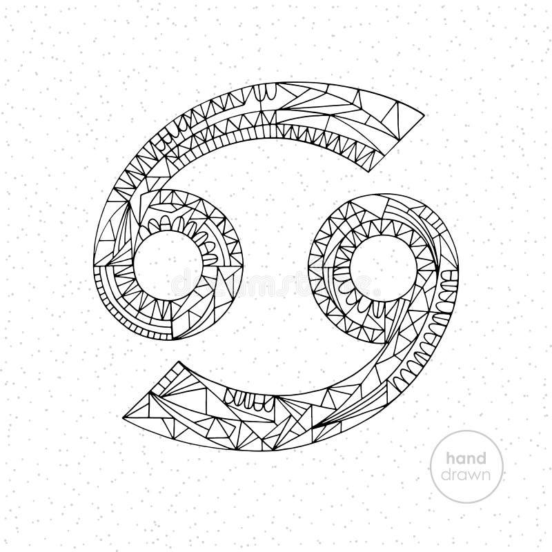 Segno dello zodiaco del Cancro Illustrazione disegnata a mano dell'oroscopo di vettore Pagina astrologica di coloritura illustrazione vettoriale