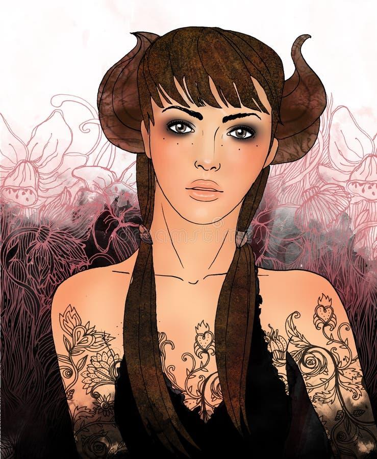 Segno dello zodiaco del Taurus come bella ragazza illustrazione vettoriale