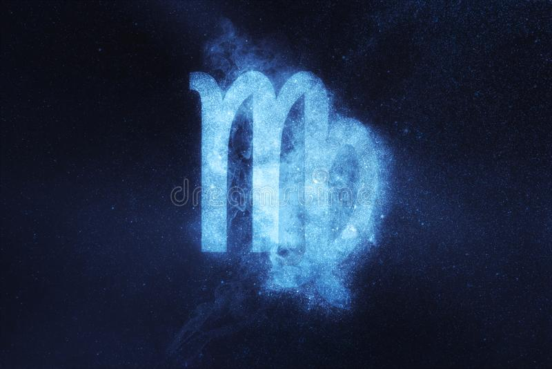 Segno dello zodiaco del Vergine Fondo astratto del cielo notturno fotografia stock