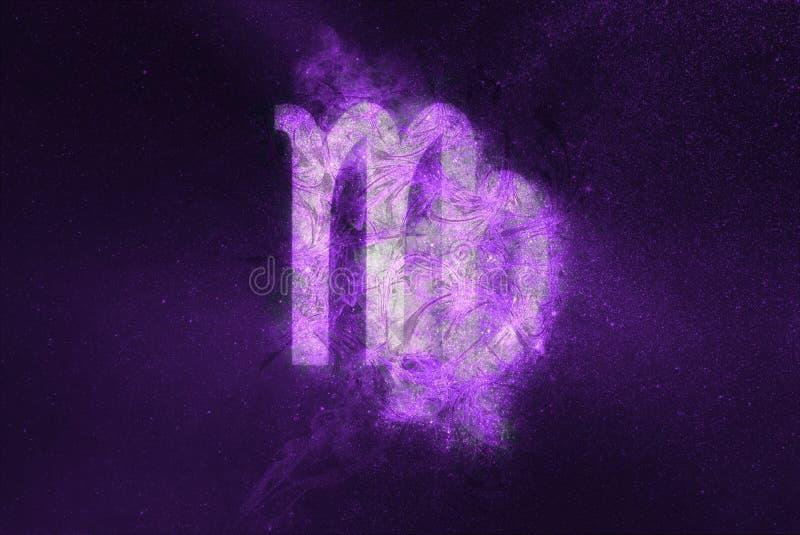 Segno dello zodiaco del Vergine Fondo astratto del cielo notturno fotografia stock libera da diritti