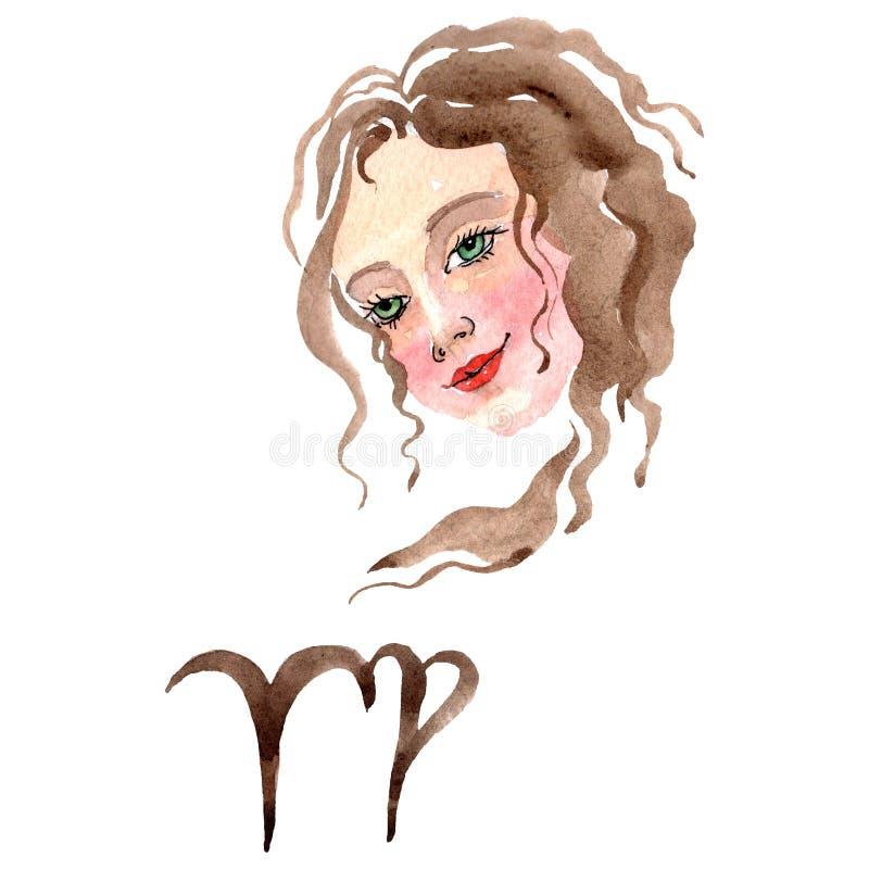 Segno dello zodiaco del Vergine, simbolo di astrologia Insieme dell'illustrazione del fondo dell'acquerello r illustrazione vettoriale