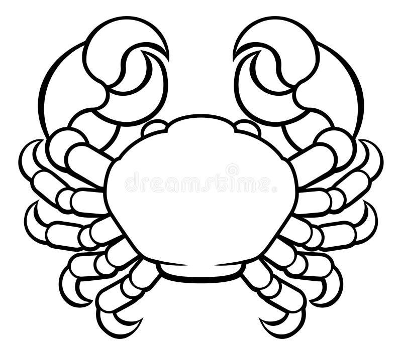 Segno dello zodiaco dell'oroscopo del Cancro del granchio illustrazione vettoriale