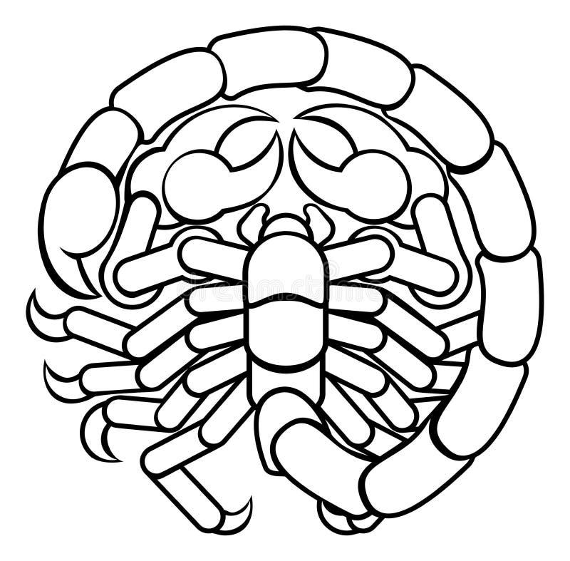 Segno dello zodiaco dell'oroscopo di astrologia dello scorpione di scorpione royalty illustrazione gratis
