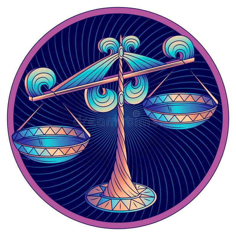 Segno dello zodiaco della Bilancia, blu di simbolo dell'oroscopo, vettore fotografia stock