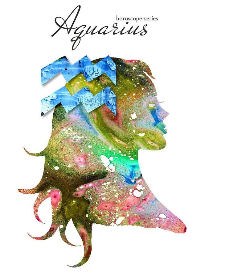 Segno dello zodiaco di acquario Bella siluetta della ragazza Illustrazione dell'acquerello Serie dell'oroscopo illustrazione vettoriale