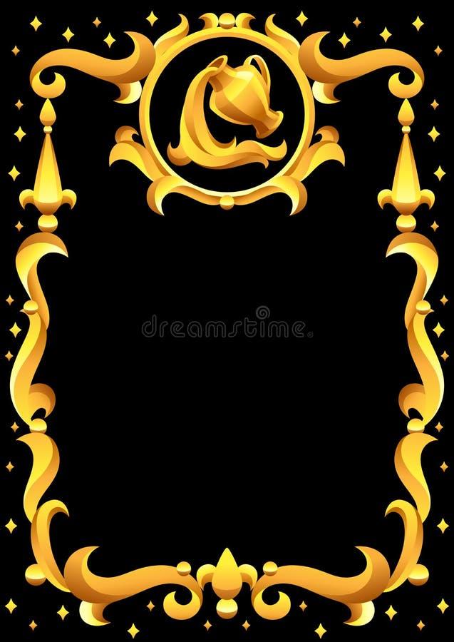 Segno dello zodiaco di acquario con la struttura dorata Simbolo di Horoscope illustrazione vettoriale