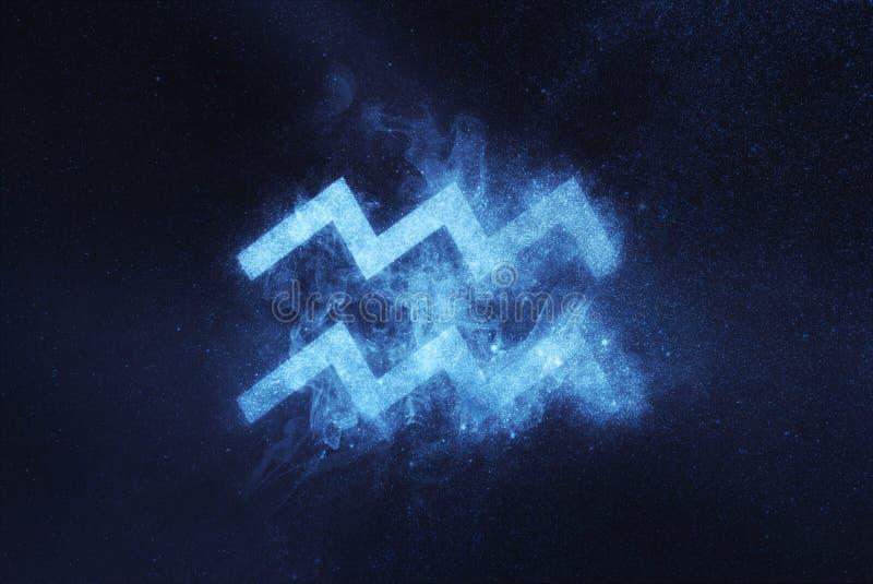 Segno dello zodiaco di acquario Fondo astratto del cielo notturno immagini stock