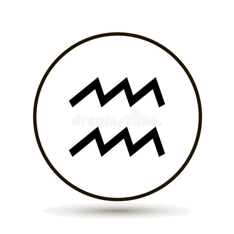 Segno dello zodiaco di acquario Icona astrologica di simbolo nel cerchio sul whi illustrazione di stock