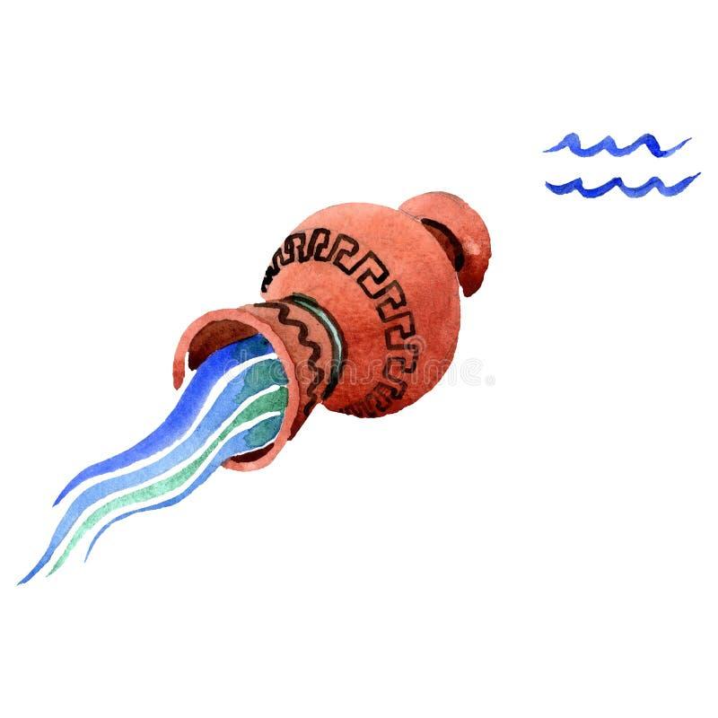 Segno dello zodiaco di acquario, simbolo di astrologia Insieme dell'illustrazione del fondo dell'acquerello r illustrazione vettoriale