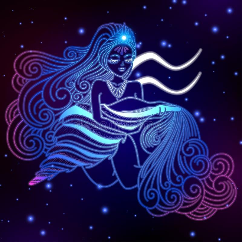 Segno dello zodiaco di acquario, simbolo dell'oroscopo, illustrazione di vettore royalty illustrazione gratis