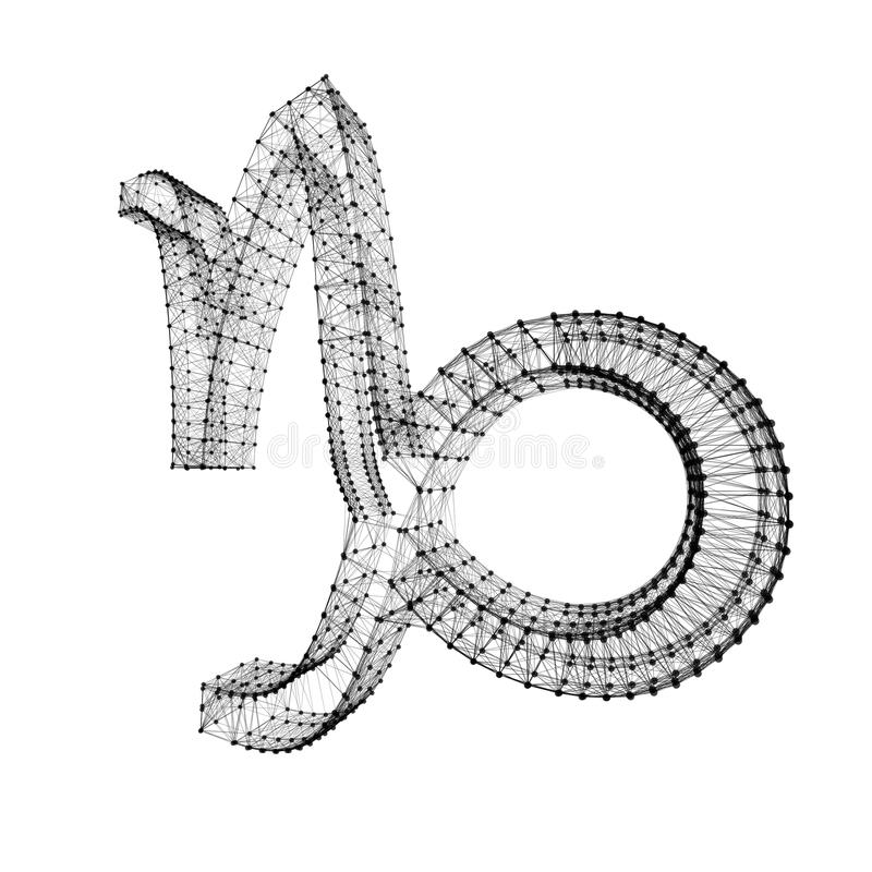 Segno dello zodiaco di capricorno Punti collegati 3D brillanti su bianco royalty illustrazione gratis