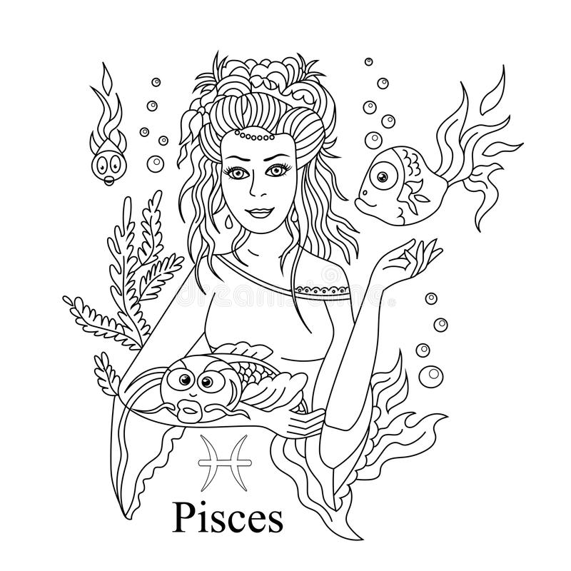 Segno dello zodiaco di pesci come bella pagina di coloritura della ragazza Ill di vettore illustrazione vettoriale