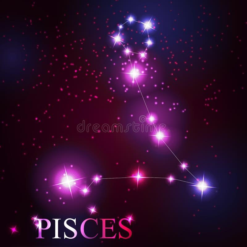 Segno dello zodiaco di pesci di belle stelle luminose royalty illustrazione gratis