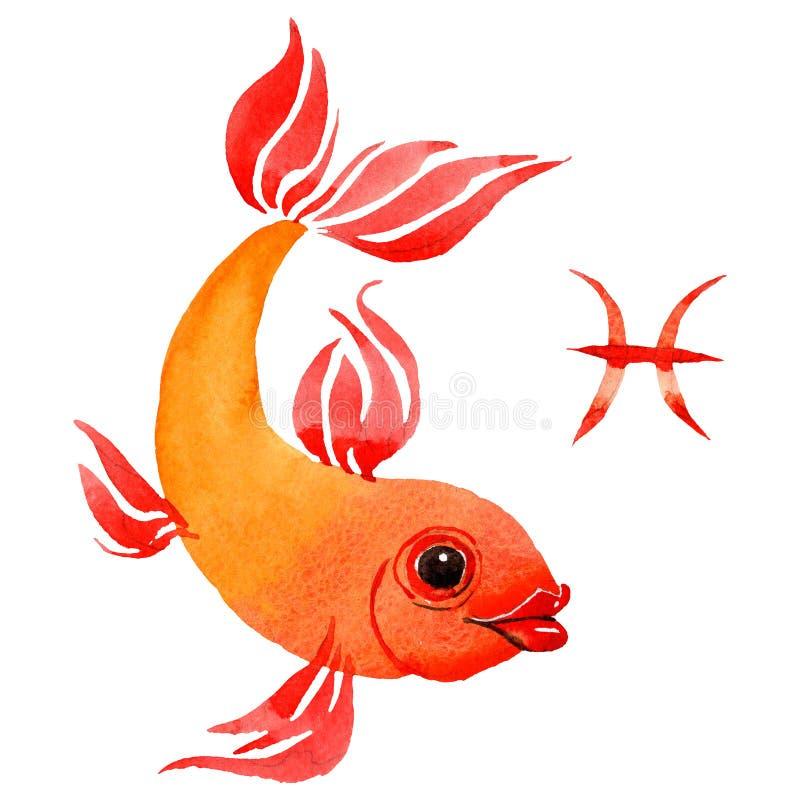 Segno dello zodiaco di pesci, simbolo di astrologia Insieme dell'illustrazione del fondo dell'acquerello r royalty illustrazione gratis