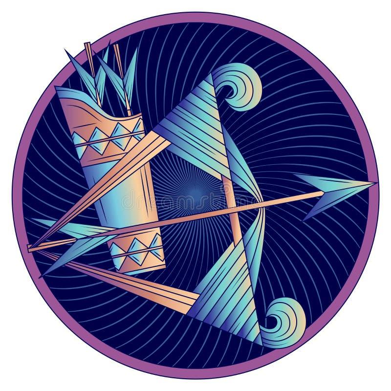 Segno dello zodiaco di Sagittario, simbolo dell'oroscopo, vettore fotografia stock
