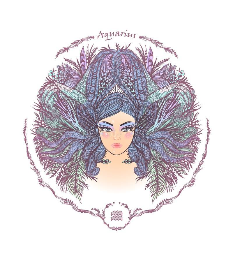 Segno dello zodiaco Ritratto di una donna aquarius illustrazione di stock