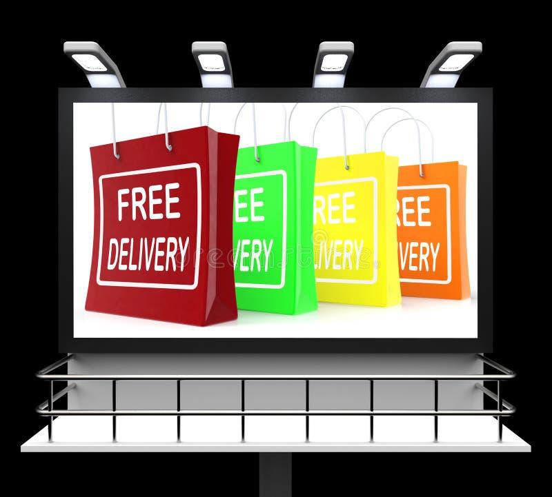 Segno di acquisto di consegna gratuita che non mostra tassa o gratis a Deliv illustrazione vettoriale