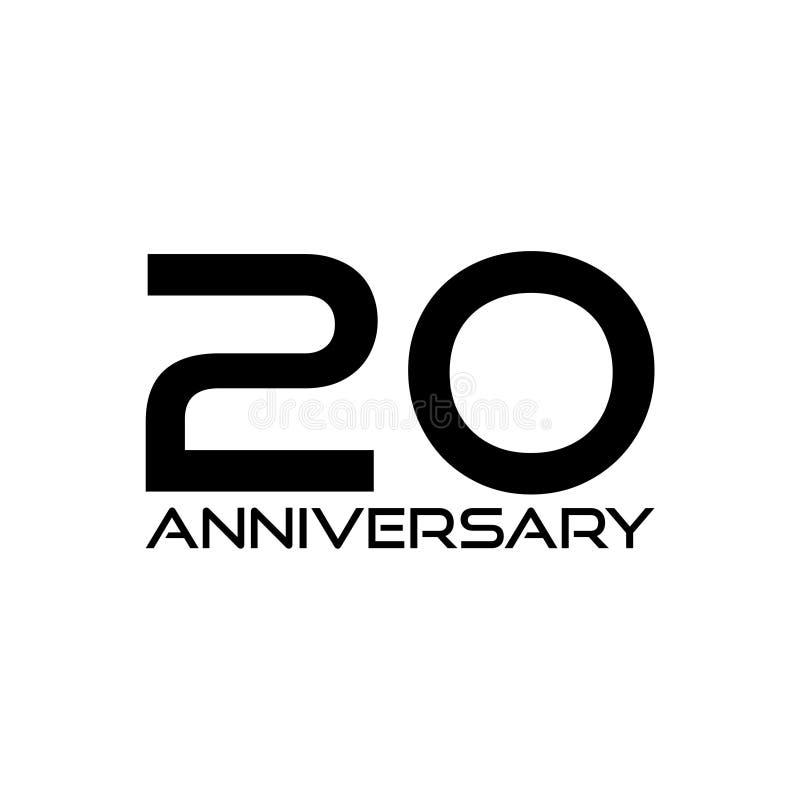 Segno di anniversario di 20 anni o icona, illustrazione di progettazione del modello royalty illustrazione gratis