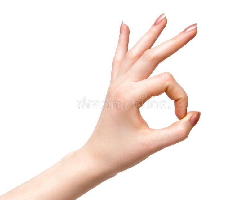 Segno di approvazione della mano della donna. immagine stock