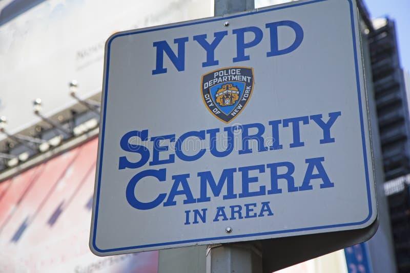 Segno di area della videocamera di sicurezza di NYPD immagine stock libera da diritti