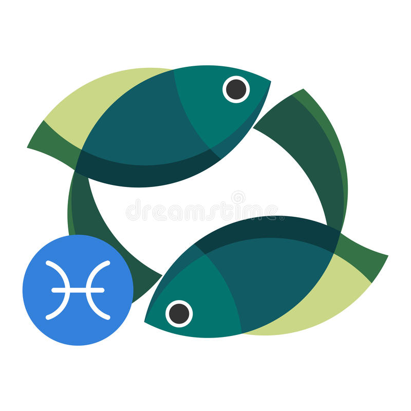 Segno di astrologia di pesci isolato su bianco Simbolo dello zodiaco dell'oroscopo illustrazione di stock