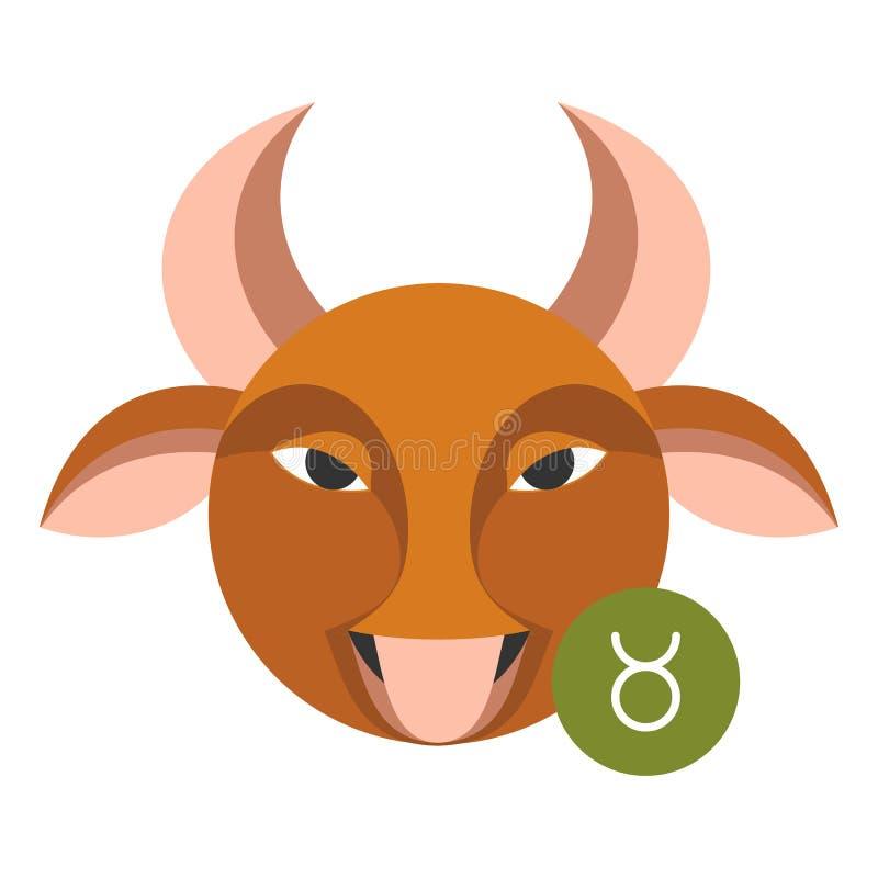 Segno di astrologia di Toro isolato su bianco Simbolo dello zodiaco dell'oroscopo royalty illustrazione gratis