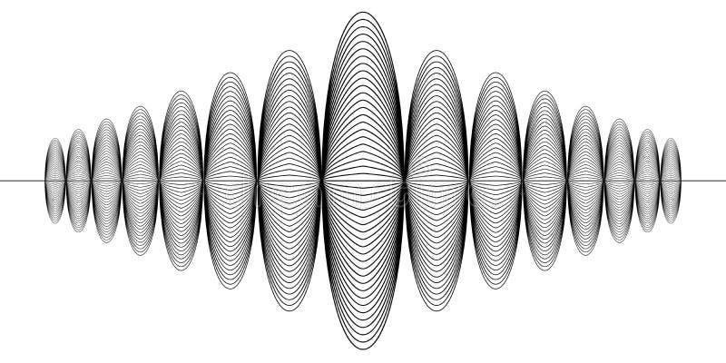 Segno di audio disco digitale, onda sonora radiofonica di musica, rabescatura di terremoto di sismologia del segno di vettore illustrazione di stock