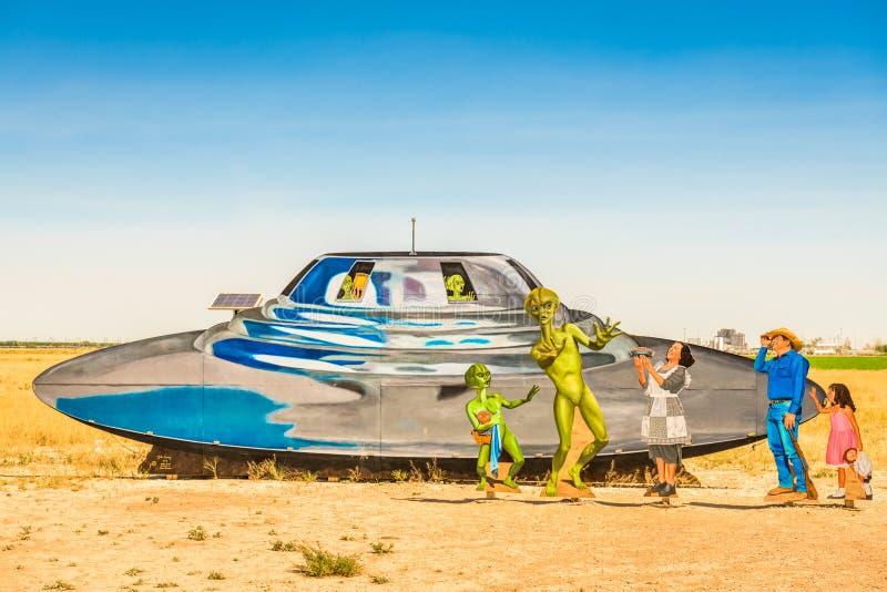 Segno di benvenuto per Roswell, New Mexico, USA immagini stock libere da diritti