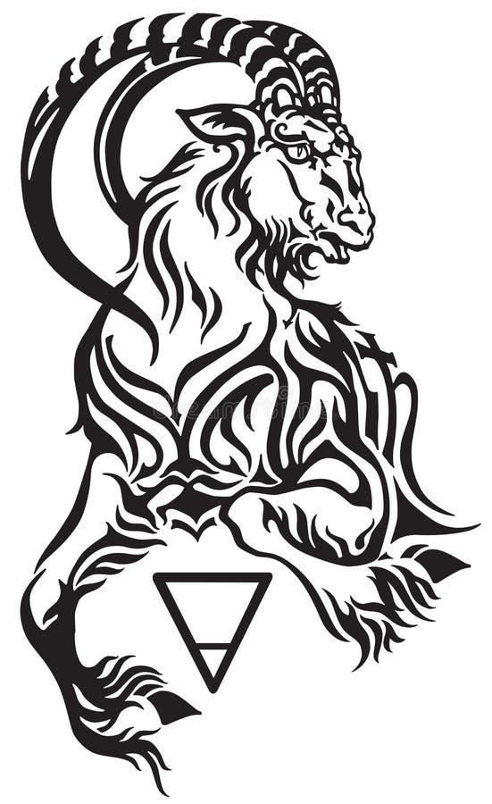 Segno di capricorno del tatuaggio tribale dello zodiaco illustrazione vettoriale
