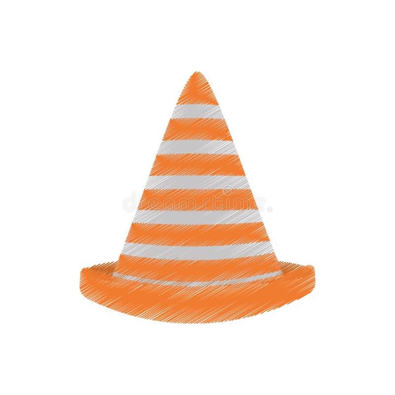 segno di cautela del cono di traffico del disegno royalty illustrazione gratis