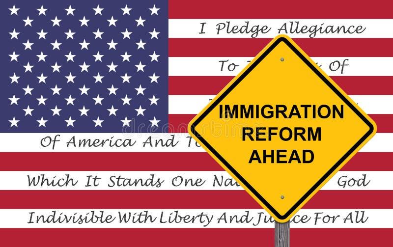 Segno di cautela - fondo della bandiera di riforma di immigrazione illustrazione vettoriale
