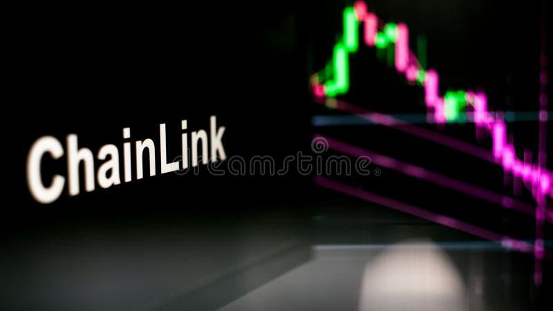 Segno di ChainLink Cryptocurrency Il comportamento degli scambi di cryptocurrency, concetto Tecnologie finanziarie moderne illustrazione vettoriale