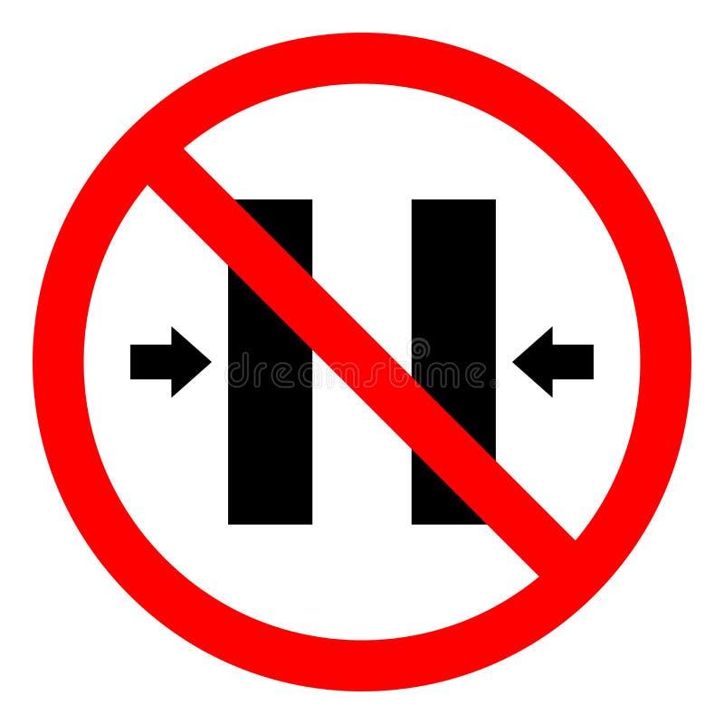 Segno di chiusura di simbolo della muffa di rischio di schiacciamento di rischio di lesione, illustrazione di vettore, isolato su illustrazione di stock