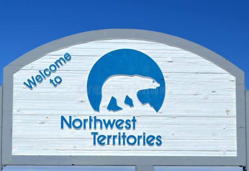 Segno di confine di Territori del Nord Ovest fotografia stock