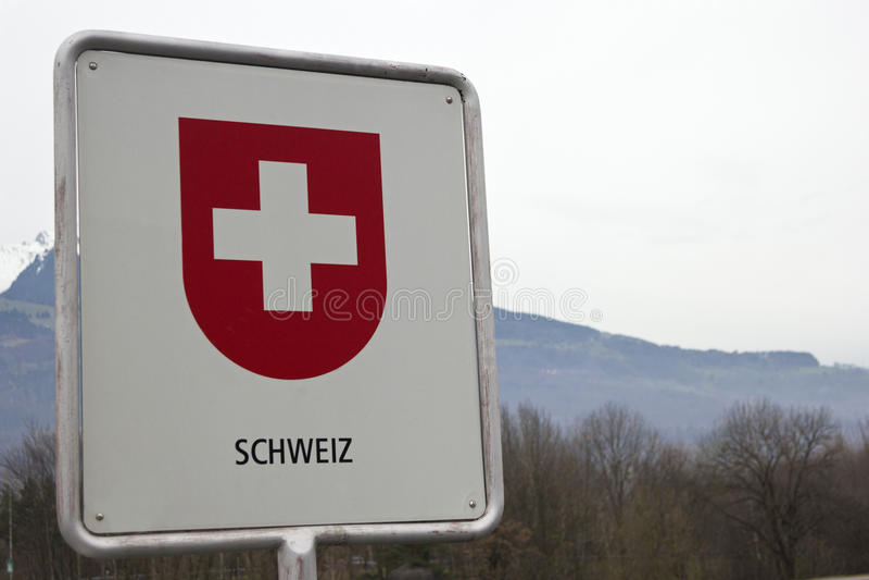 Segno di confine svizzero fotografia stock