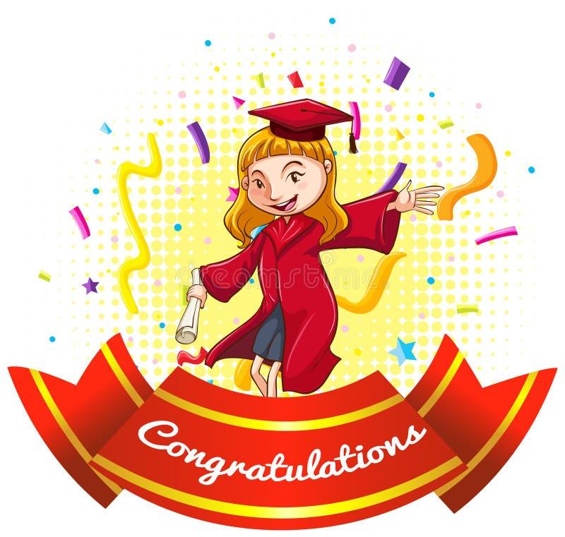 Segno di congratulazioni con la ragazza in abito di graduazione royalty illustrazione gratis