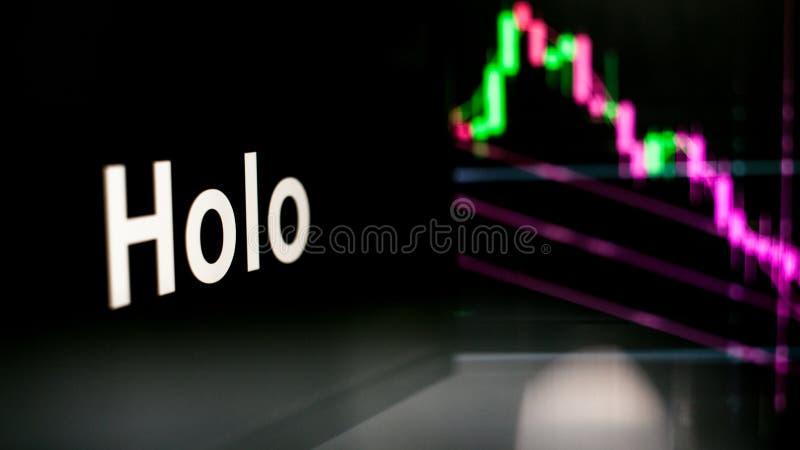 Segno di Cryptocurrency Il comportamento degli scambi di cryptocurrency, concetto Tecnologie finanziarie moderne fotografia stock libera da diritti