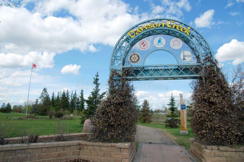 Segno di Dawson Creek British Columbia Canada fotografia stock