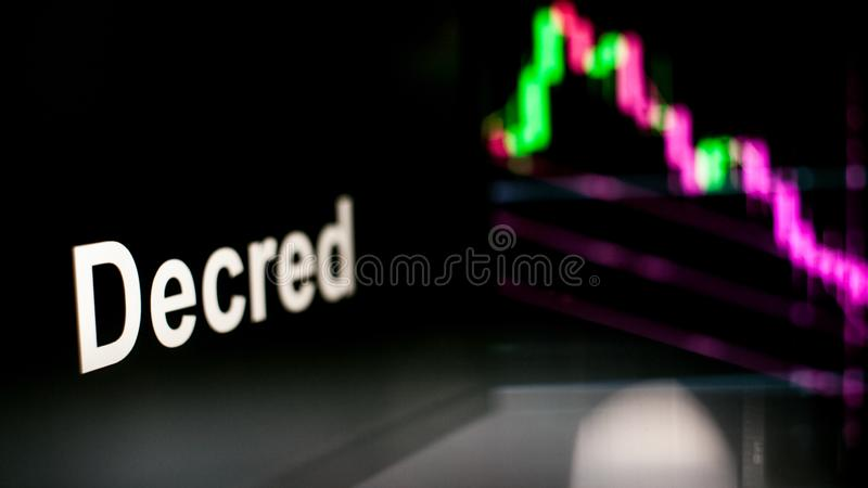 Segno di Decred Cryptocurrency Il comportamento degli scambi di cryptocurrency, concetto Tecnologie finanziarie moderne royalty illustrazione gratis