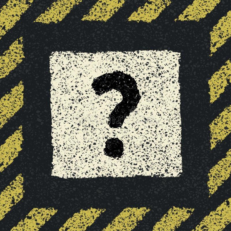 Segno di domanda su asfalto nel telaio di rischio. illustrazione di stock