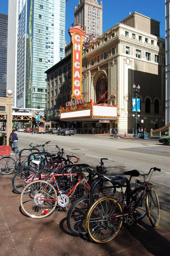 Segno di fama mondiale del teatro del Chicago del limite fotografie stock libere da diritti