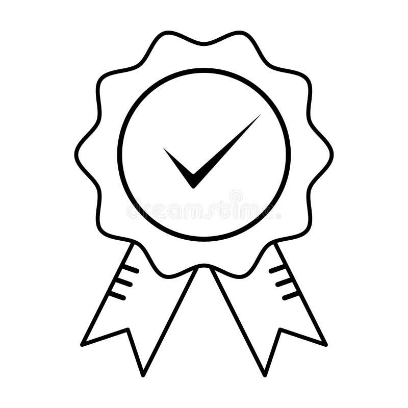 Segno di garanzia certificato qualità con il segno convenzionale Descriva l'icona approvata e corretta nello stile piano Controll illustrazione vettoriale