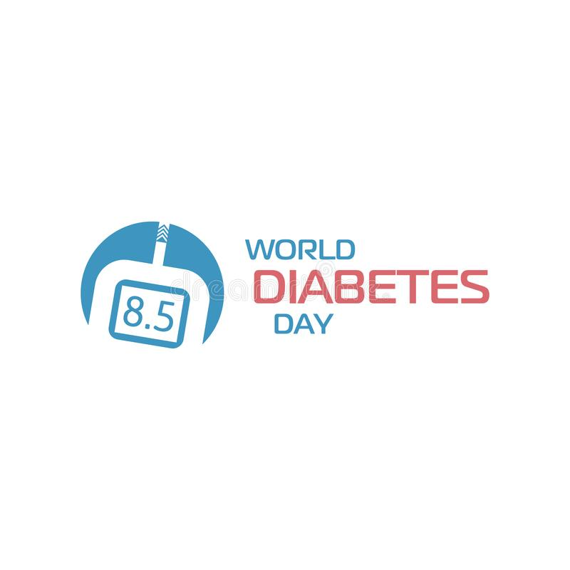 Segno di giornata mondiale del diabete Apparecchio medico del tester del glucosio, monitoraggio della glicemia, determinante conc illustrazione vettoriale
